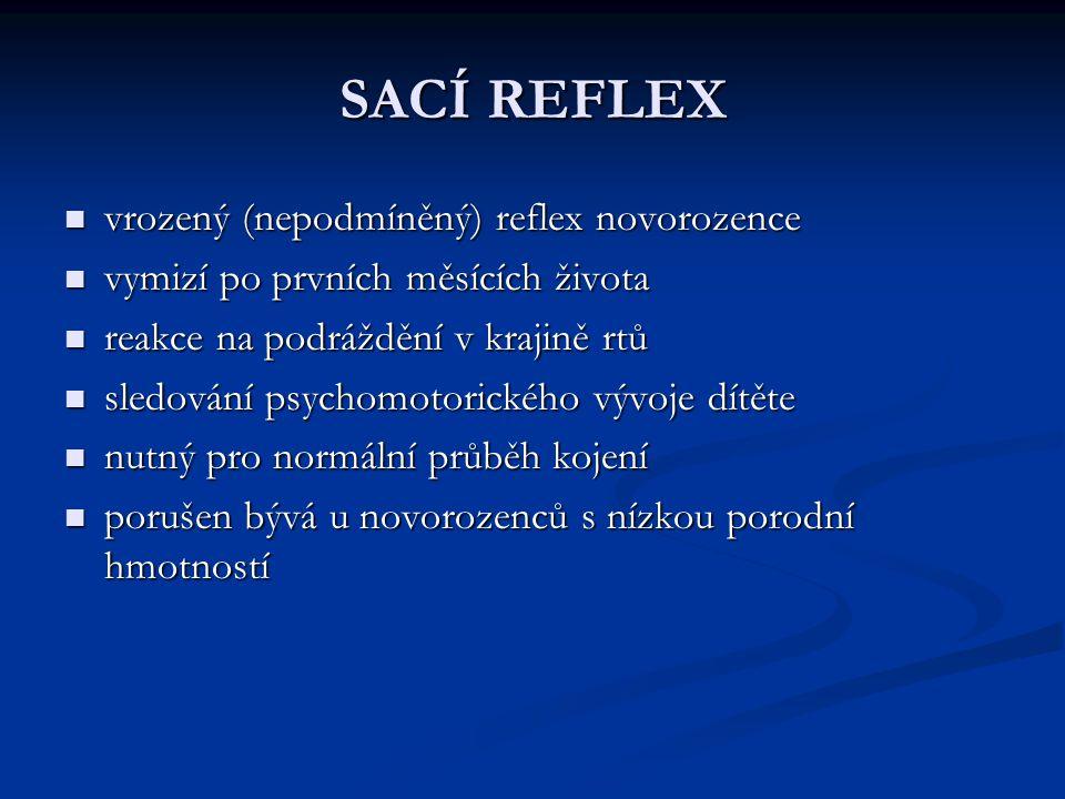 SACÍ REFLEX vrozený (nepodmíněný) reflex novorozence vrozený (nepodmíněný) reflex novorozence vymizí po prvních měsících života vymizí po prvních měsí
