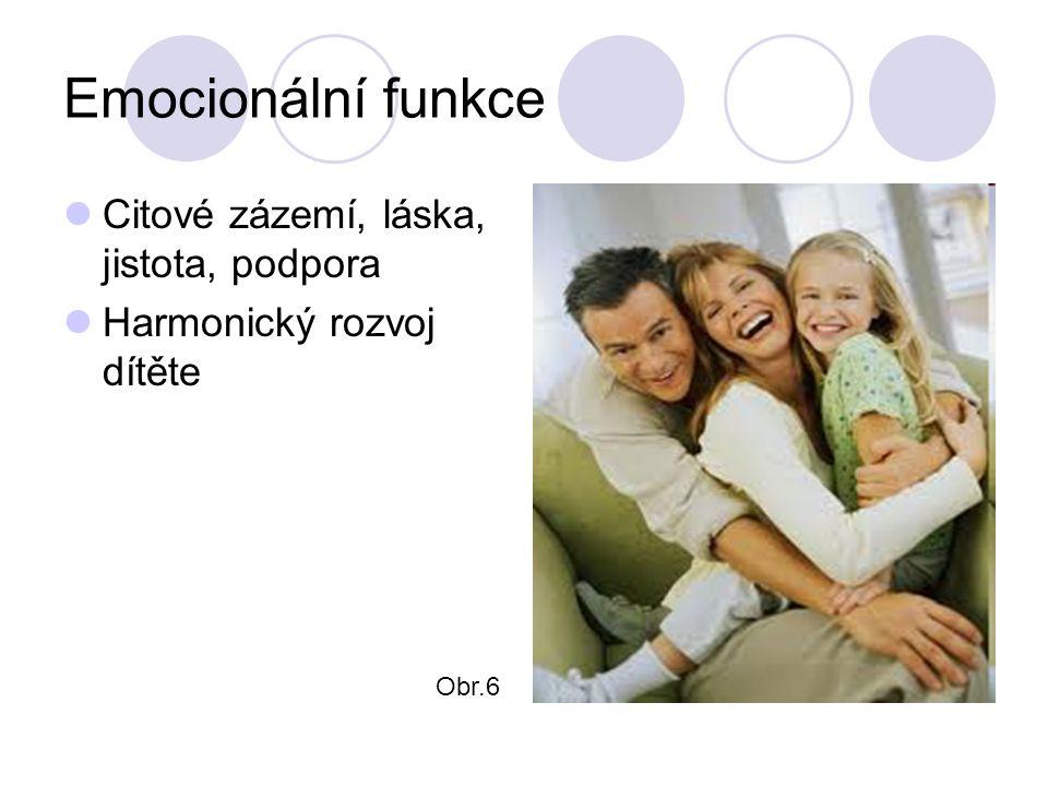 Emocionální funkce Citové zázemí, láska, jistota, podpora Harmonický rozvoj dítěte Obr.6