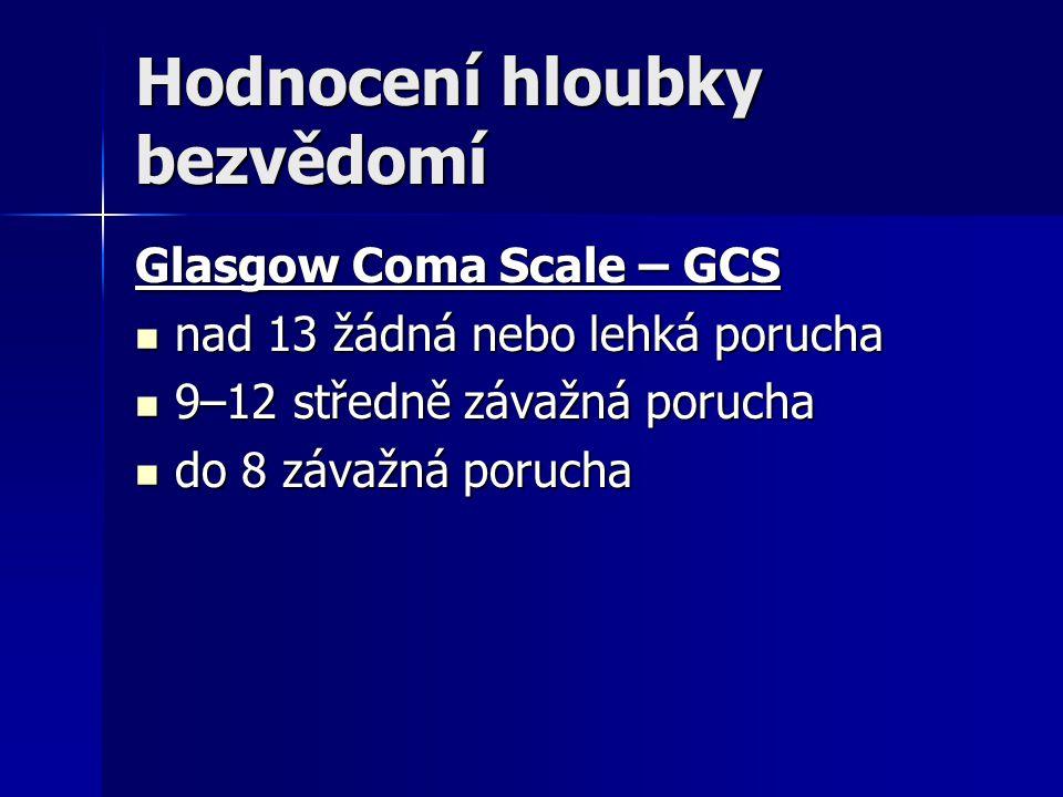 Hodnocení hloubky bezvědomí Glasgow Coma Scale – GCS nad 13 žádná nebo lehká porucha nad 13 žádná nebo lehká porucha 9–12 středně závažná porucha 9–12 středně závažná porucha do 8 závažná porucha do 8 závažná porucha