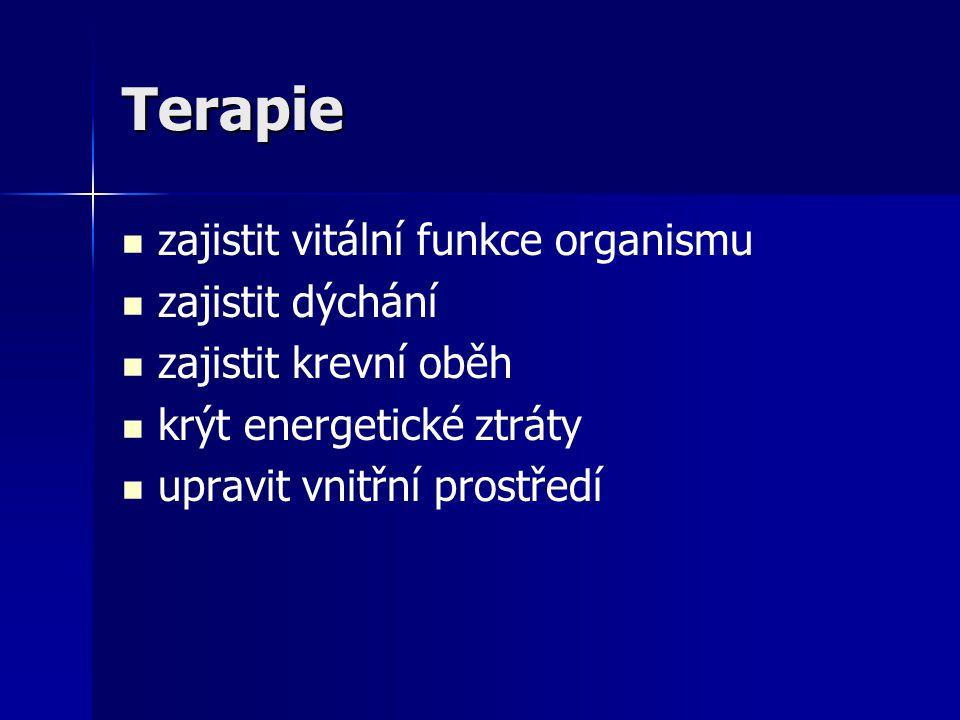 Terapie zajistit vitální funkce organismu zajistit dýchání zajistit krevní oběh krýt energetické ztráty upravit vnitřní prostředí