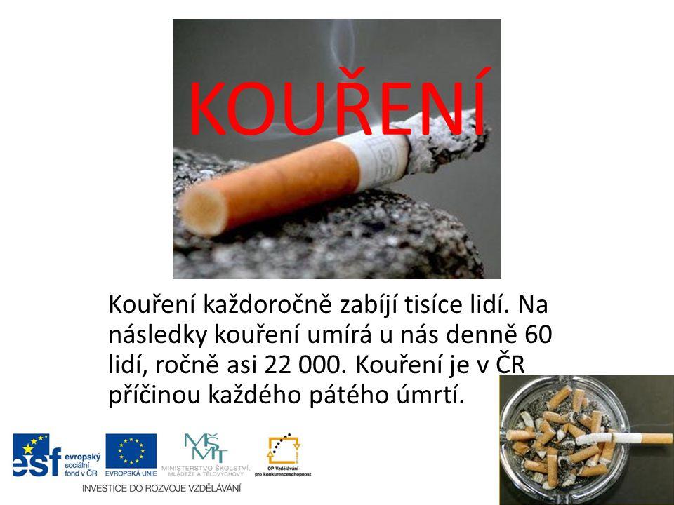 KOUŘENÍ Kouření každoročně zabíjí tisíce lidí. Na následky kouření umírá u nás denně 60 lidí, ročně asi 22 000. Kouření je v ČR příčinou každého pátéh