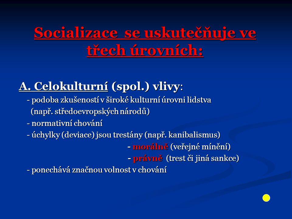 Socializace se uskutečňuje ve třech úrovních: A. Celokulturní (spol.) vlivy: - podoba zkušeností v široké kulturní úrovni lidstva - podoba zkušeností