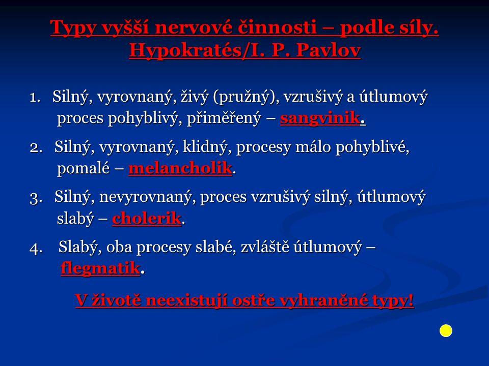 Typy vyšší nervové činnosti – podle síly. Hypokratés/I. P. Pavlov 1. Silný, vyrovnaný, živý (pružný), vzrušivý a útlumový proces pohyblivý, přiměřený