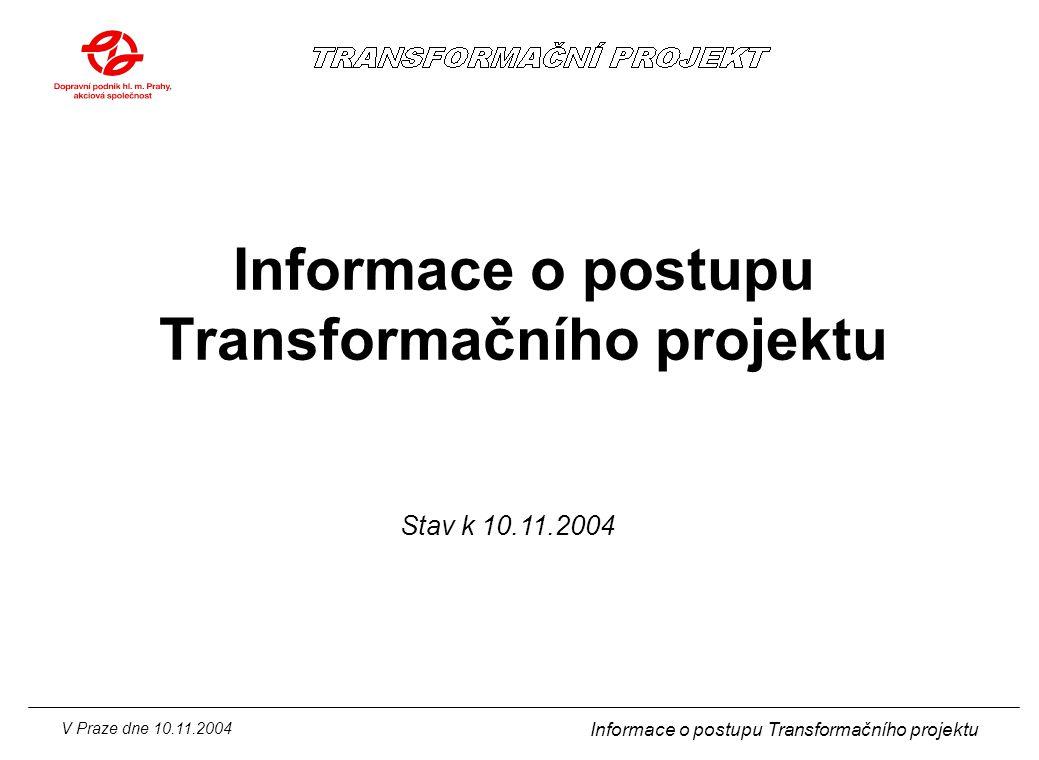V Praze dne 10.11.2004 Informace o postupu Transformačního projektu Organizační schéma dopravního úseku k 1.1.2005