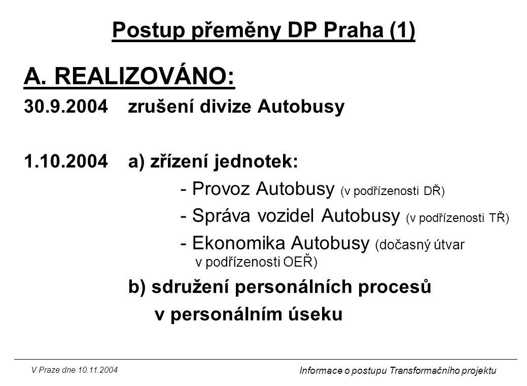 V Praze dne 10.11.2004 Informace o postupu Transformačního projektu Postup přeměny DP Praha (1) A. REALIZOVÁNO: 30.9.2004zrušení divize Autobusy 1.10.