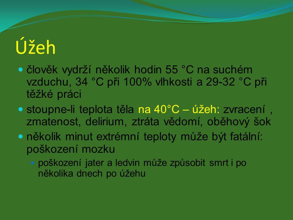 Úžeh člověk vydrží několik hodin 55 °C na suchém vzduchu, 34 °C při 100% vlhkosti a 29-32 °C při těžké práci stoupne-li teplota těla na 40°C – úžeh: z