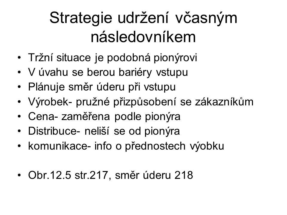 Strategie udržení včasným následovníkem Tržní situace je podobná pionýrovi V úvahu se berou bariéry vstupu Plánuje směr úderu při vstupu Výrobek- pruž