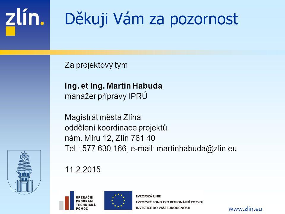 www.zlin.eu Děkuji Vám za pozornost Za projektový tým Ing. et Ing. Martin Habuda manažer přípravy IPRÚ Magistrát města Zlína oddělení koordinace proje