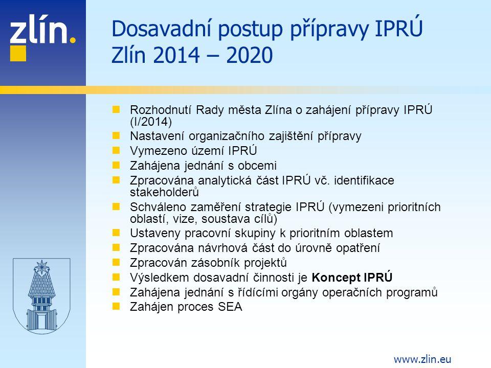 www.zlin.eu Plán dopracování IPRÚ Zlín 2014 - 2020 Představení konceptu Regionální stálé konferenci Vypořádání připomínek Dopracování IPRÚ s důrazem na koncentraci strategie (ve vazbě na finální verze operačních programů) Dokončení procesu SEA Schválení IPRÚ v Zastupitelstvu města Zlína Předložení IPRÚ na MMR – Národní stálé konferenci k hodnocení (v závislosti na vyhlášení výzvy) Projednání IPRÚ s řídícími orgány jednotlivých OP Případné úpravy IPRÚ Schválení IPRÚ – Memorandum o realizaci integrované strategie Následovat bude realizace IPRÚ Předpoklad zahájení realizace: 2.