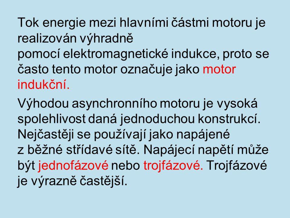 Tok energie mezi hlavními částmi motoru je realizován výhradně pomocí elektromagnetické indukce, proto se často tento motor označuje jako motor indukč