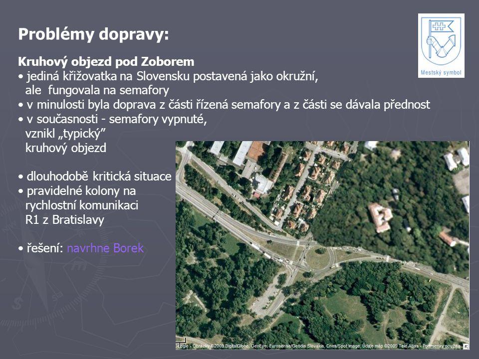 Problémy dopravy: Kruhový objezd pod Zoborem jediná křižovatka na Slovensku postavená jako okružní, ale fungovala na semafory v minulosti byla doprava