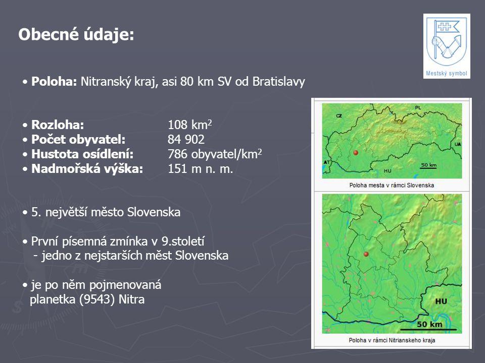 Obecné údaje: Poloha: Nitranský kraj, asi 80 km SV od Bratislavy Rozloha:108 km 2 Počet obyvatel: 84 902 Hustota osídlení: 786 obyvatel/km 2 Nadmořská