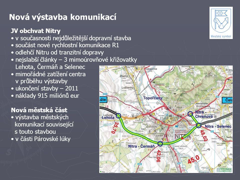 Nová výstavba komunikací JV obchvat Nitry v současnosti nejdůležitější dopravní stavba součást nové rychlostní komunikace R1 odlehčí Nitru od tranzitn