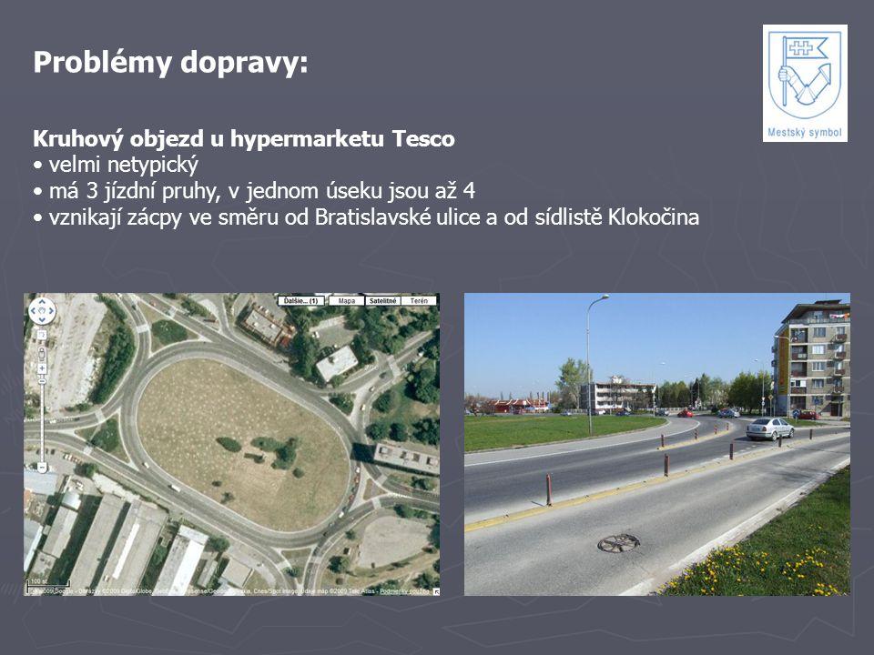 Problémy dopravy: Kruhový objezd u hypermarketu Tesco velmi netypický má 3 jízdní pruhy, v jednom úseku jsou až 4 vznikají zácpy ve směru od Bratislav