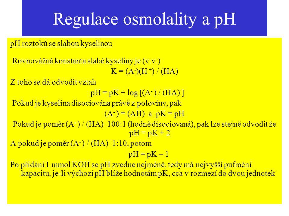 Regulace osmolality a pH pH roztoků se slabou kyselinou Rovnovážná konstanta slabé kyseliny je (v.v.) K = (A - )(H + ) / (HA) Z toho se dá odvodit vzt