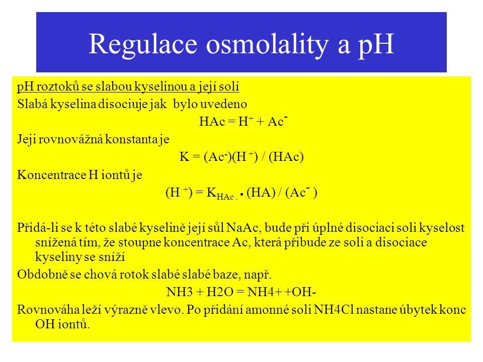 Regulace osmolality a pH pH roztoků se slabou kyselinou a její solí Slabá kyselina disociuje jak bylo uvedeno HAc = H + + Ac - Jeji rovnovážná konstan
