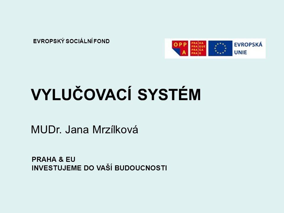 VYLUČOVACÍ SYSTÉM MUDr. Jana Mrzílková EVROPSKÝ SOCIÁLNÍ FOND PRAHA & EU INVESTUJEME DO VAŠÍ BUDOUCNOSTI