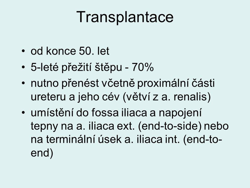 Transplantace od konce 50. let 5-leté přežití štěpu - 70% nutno přenést včetně proximální části ureteru a jeho cév (větví z a. renalis) umístění do fo