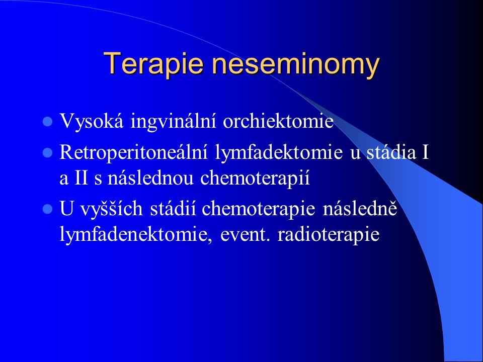 Terapie neseminomy Vysoká ingvinální orchiektomie Retroperitoneální lymfadektomie u stádia I a II s následnou chemoterapií U vyšších stádií chemoterapie následně lymfadenektomie, event.
