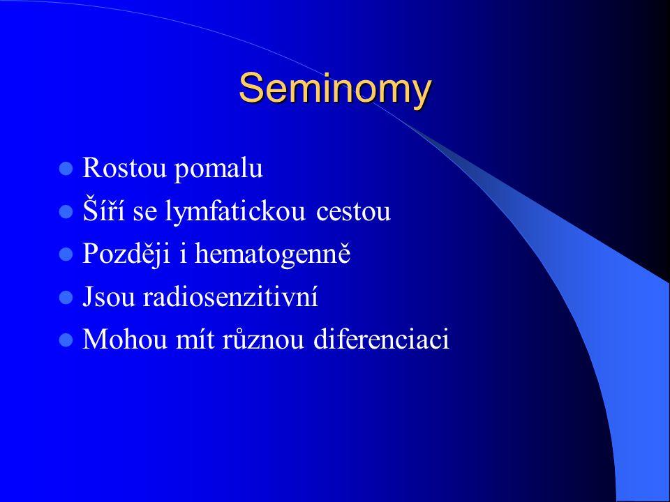 Seminomy Rostou pomalu Šíří se lymfatickou cestou Později i hematogenně Jsou radiosenzitivní Mohou mít různou diferenciaci