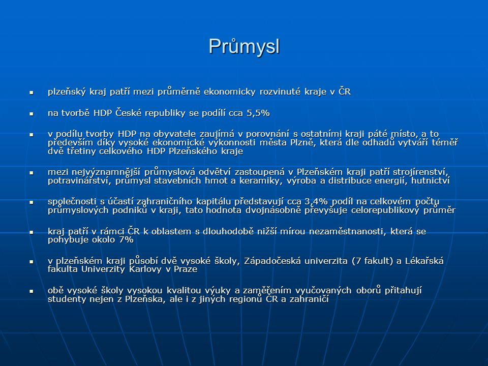 Průmysl plzeňský kraj patří mezi průměrně ekonomicky rozvinuté kraje v ČR plzeňský kraj patří mezi průměrně ekonomicky rozvinuté kraje v ČR na tvorbě