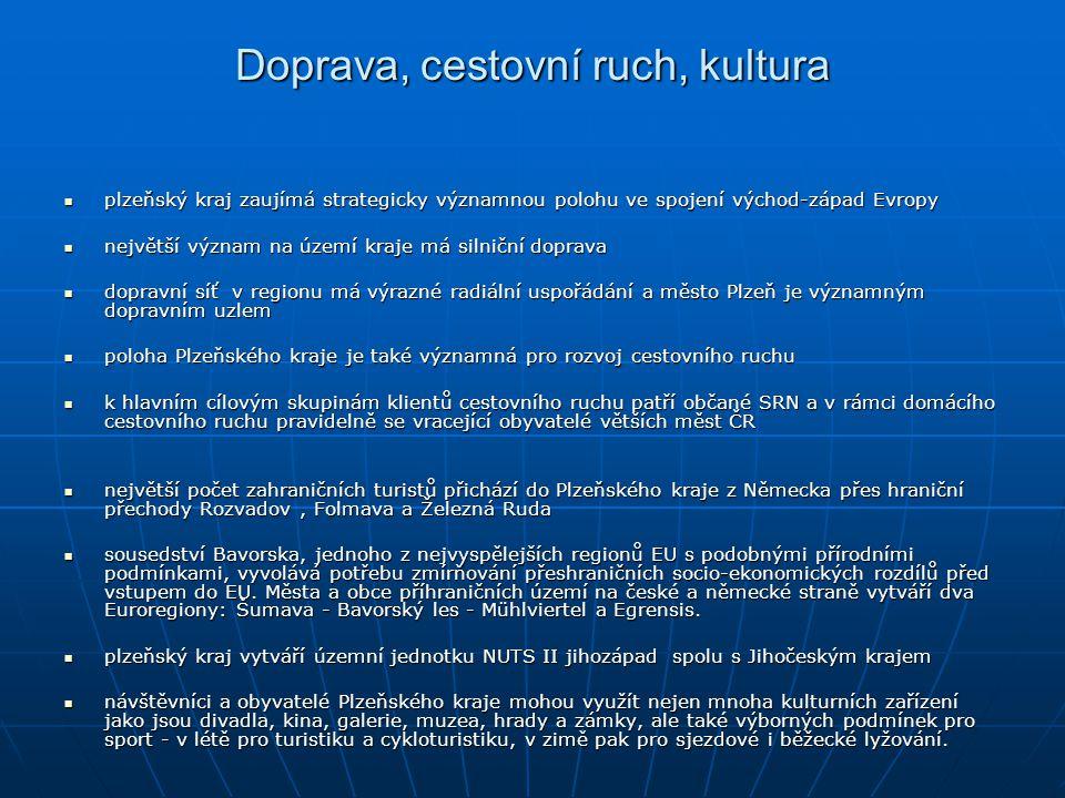 Doprava, cestovní ruch, kultura plzeňský kraj zaujímá strategicky významnou polohu ve spojení východ-západ Evropy plzeňský kraj zaujímá strategicky vý