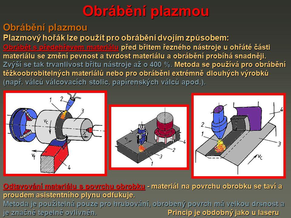 Obrábění plazmou Plazmový hořák lze použít pro obrábění dvojím způsobem: Obrábět s předehřevem materiálu před břitem řezného nástroje u ohřáté části materiálu se změní pevnost a tvrdost materiálu a obrábění probíhá snadněji.