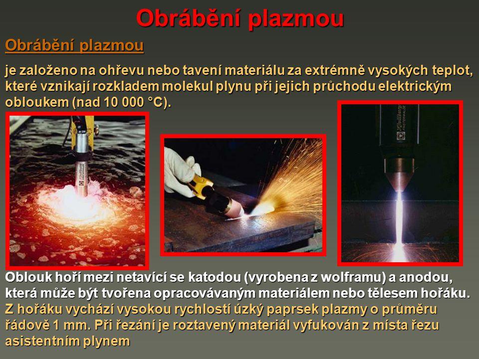 Obrábění plazmou Plazma je elektricky vodivý stav plynu, který nastává při elektrickém výboji mezi anodou a katodou - vzniká ionizovaný plyn.
