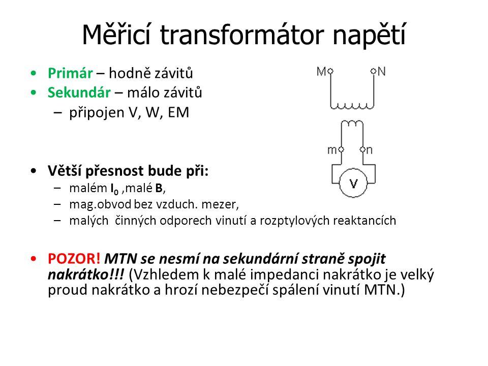 Měřicí transformátor napětí Primár – hodně závitů Sekundár – málo závitů –připojen V, W, EM Větší přesnost bude při: –malém I 0,malé B, –mag.obvod bez
