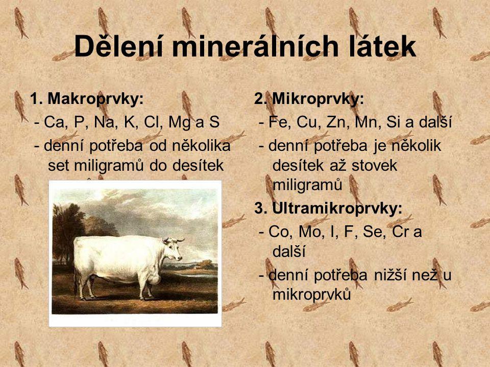 Dělení minerálních látek 1. Makroprvky: - Ca, P, Na, K, Cl, Mg a S - denní potřeba od několika set miligramů do desítek gramů 2. Mikroprvky: - Fe, Cu,