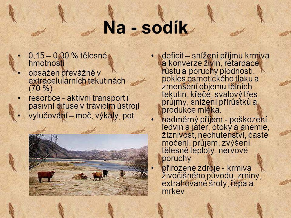 Na - sodík 0,15 – 0,30 % tělesné hmotnosti obsažen převážně v extracelulárních tekutinách (70 %) resorbce - aktivní transport i pasivní difuse v trávi