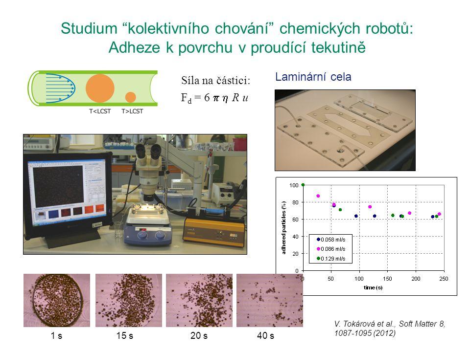 """Studium """"kolektivního chování"""" chemických robotů: Adheze k povrchu v proudící tekutině Síla na částici: F d = 6   R u V. Tokárová et al., Soft Matte"""