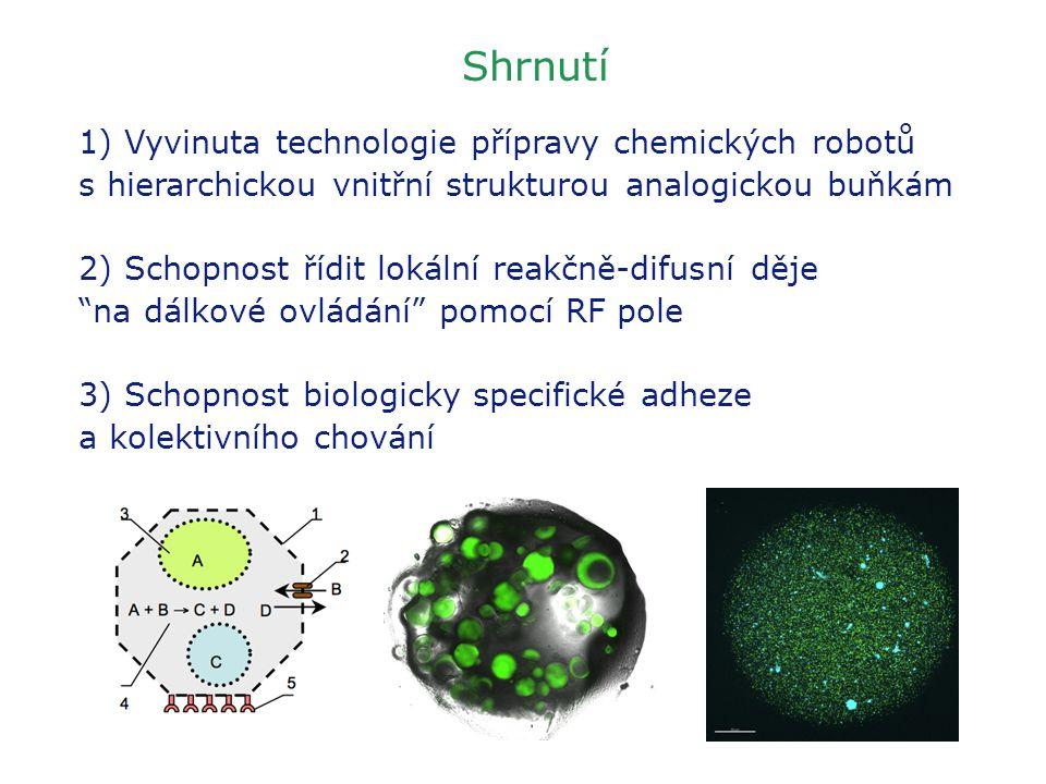 Shrnutí 1) Vyvinuta technologie přípravy chemických robotů s hierarchickou vnitřní strukturou analogickou buňkám 2) Schopnost řídit lokální reakčně-di