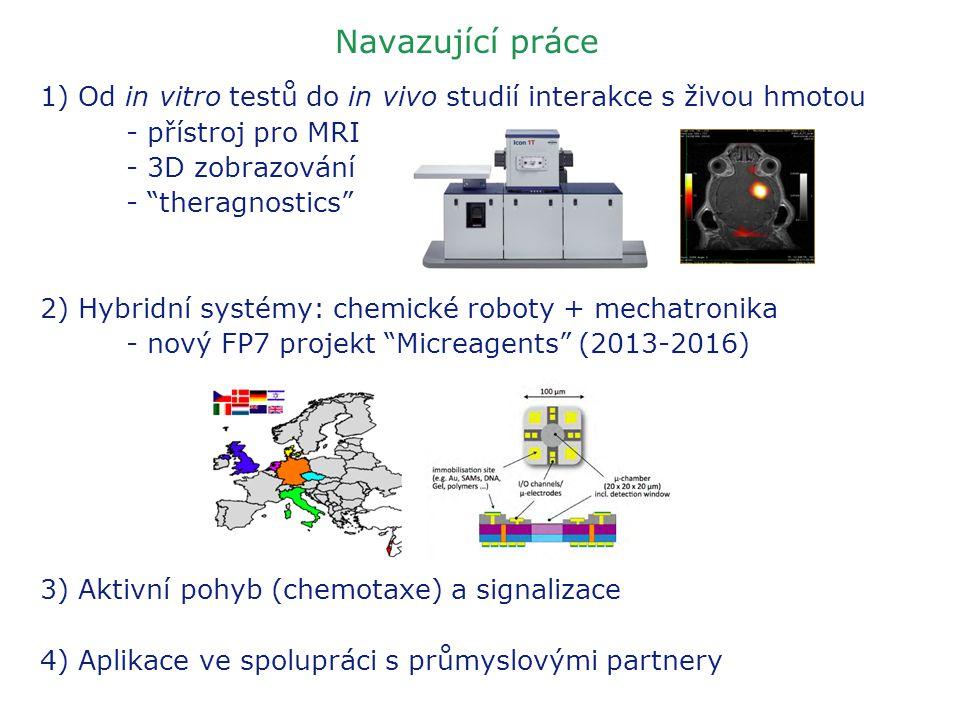 """Navazující práce 1) Od in vitro testů do in vivo studií interakce s živou hmotou - přístroj pro MRI - 3D zobrazování - """"theragnostics"""" 2) Hybridní sys"""