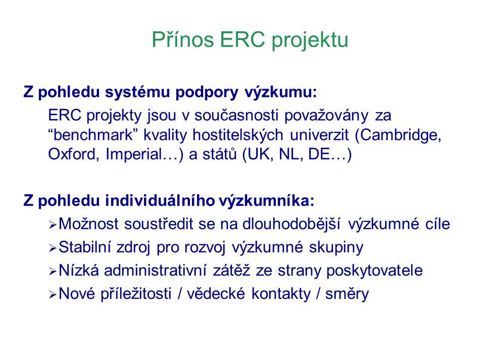 """Přínos ERC projektu Z pohledu systému podpory výzkumu: ERC projekty jsou v současnosti považovány za """"benchmark"""" kvality hostitelských univerzit (Camb"""