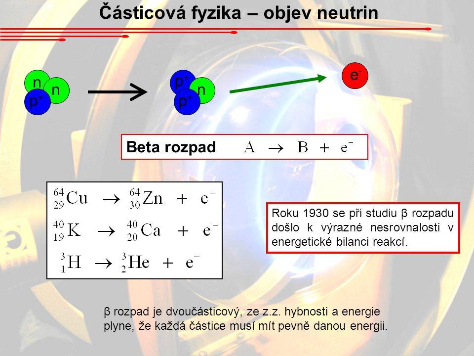 Částicová fyzika – objev neutrin Beta rozpad Roku 1930 se při studiu β rozpadu došlo k výrazné nesrovnalosti v energetické bilanci reakcí. β rozpad je