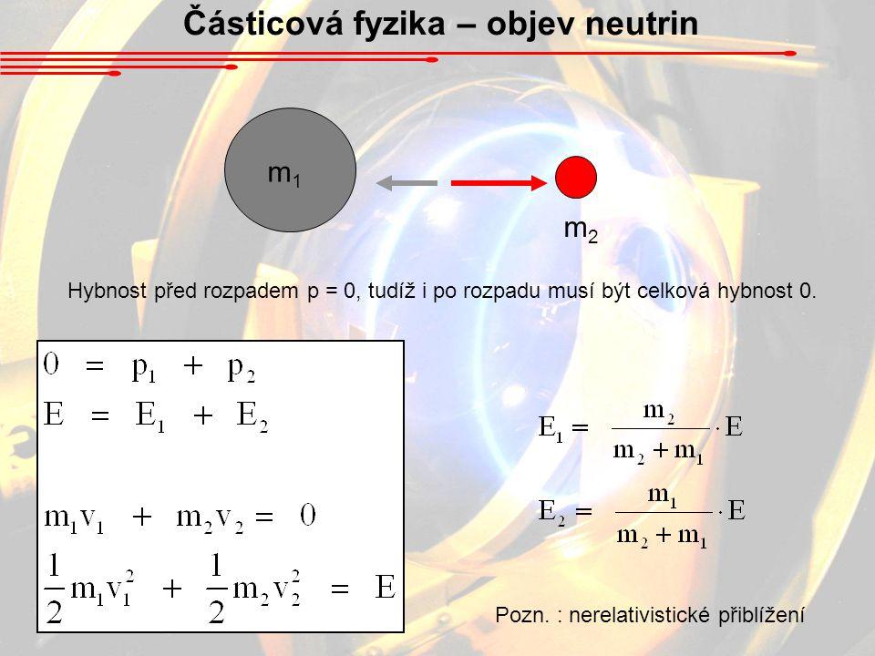 Částicová fyzika – objev neutrin m1m1 m2m2 Hybnost před rozpadem p = 0, tudíž i po rozpadu musí být celková hybnost 0. Pozn. : nerelativistické přiblí