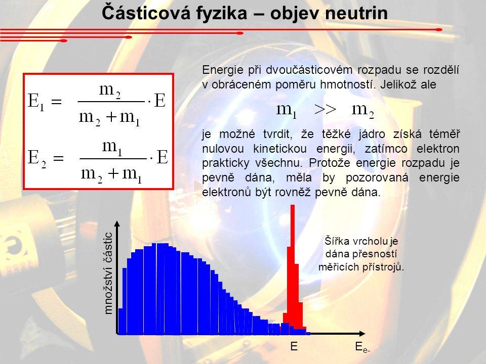 Částicová fyzika – objev neutrin Energie při dvoučásticovém rozpadu se rozdělí v obráceném poměru hmotností. Jelikož ale je možné tvrdit, že těžké jád