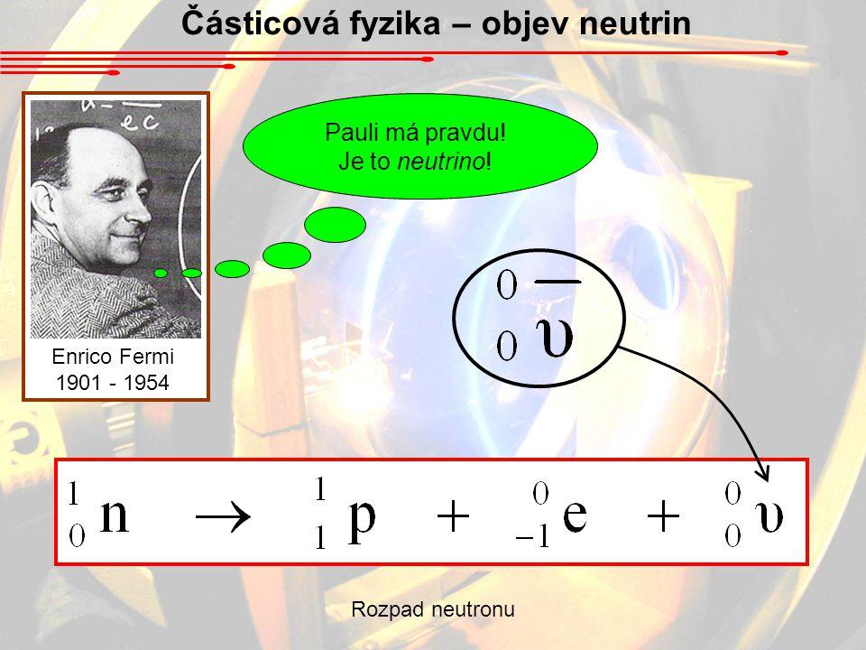 Částicová fyzika – objev neutrin Enrico Fermi 1901 - 1954 Pauli má pravdu! Je to neutrino! Rozpad neutronu