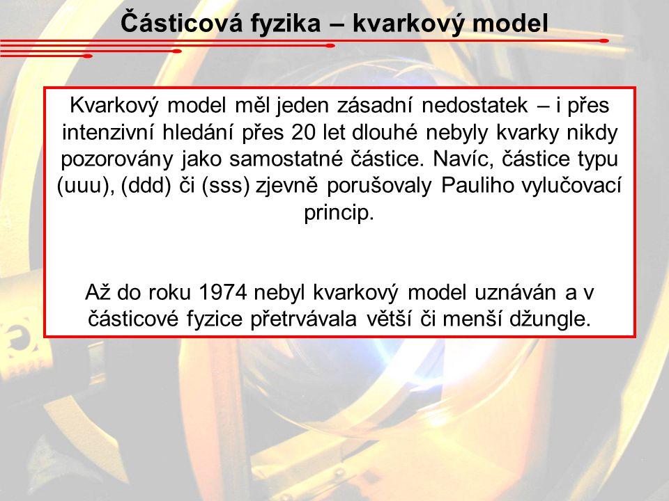 Částicová fyzika – kvarkový model Kvarkový model měl jeden zásadní nedostatek – i přes intenzivní hledání přes 20 let dlouhé nebyly kvarky nikdy pozor