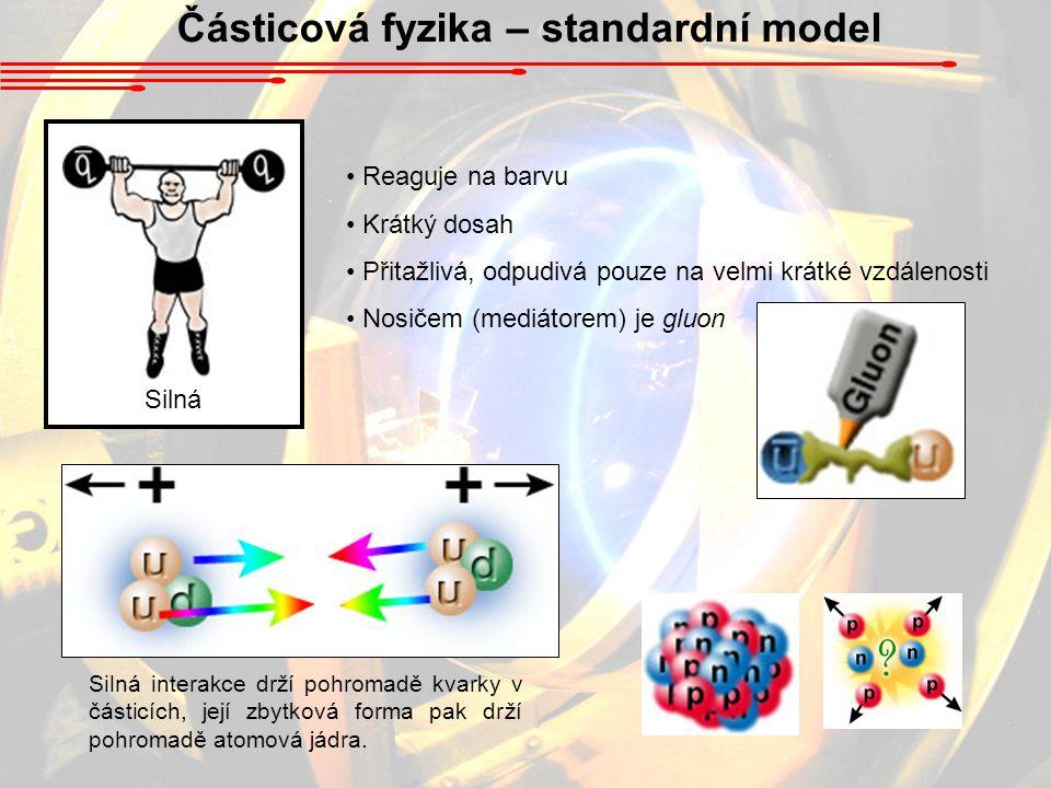 Částicová fyzika – standardní model Silná Reaguje na barvu Krátký dosah Přitažlivá, odpudivá pouze na velmi krátké vzdálenosti Nosičem (mediátorem) je