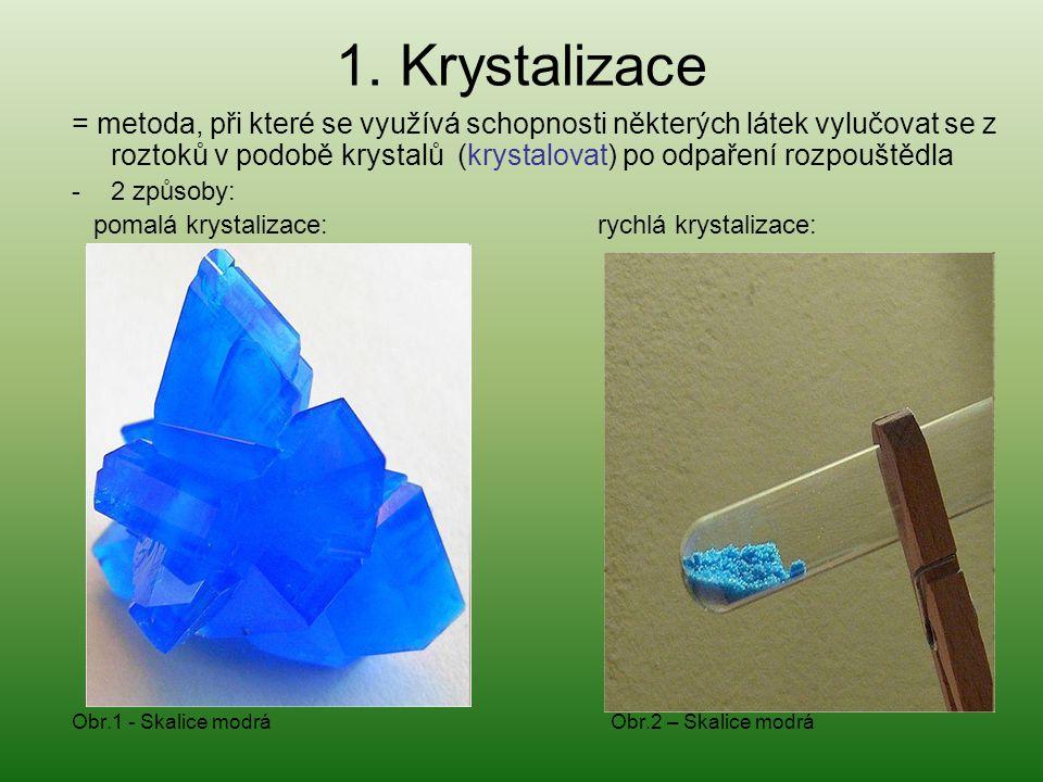 1. Krystalizace = metoda, při které se využívá schopnosti některých látek vylučovat se z roztoků v podobě krystalů (krystalovat) po odpaření rozpouště