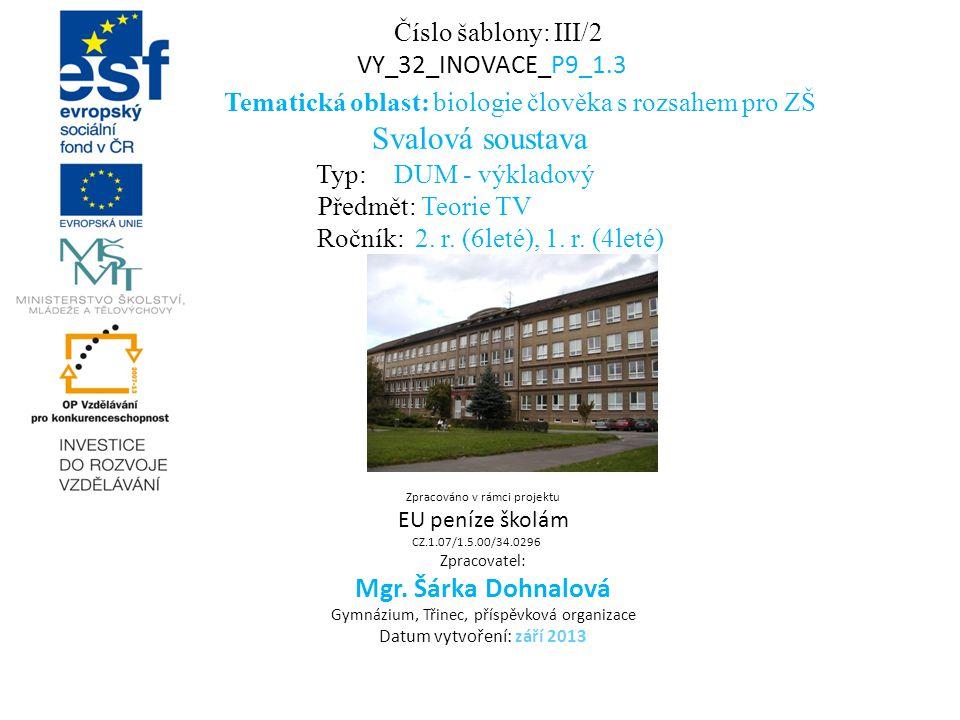 Číslo šablony: III/2 VY_32_INOVACE_P9_1.3 Tematická oblast: biologie člověka s rozsahem pro ZŠ Svalová soustava Typ: DUM - výkladový Předmět: Teorie T