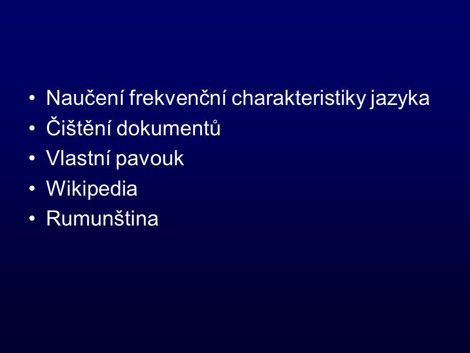 Naučení frekvenční charakteristiky jazyka Čištění dokumentů Vlastní pavouk Wikipedia Rumunština
