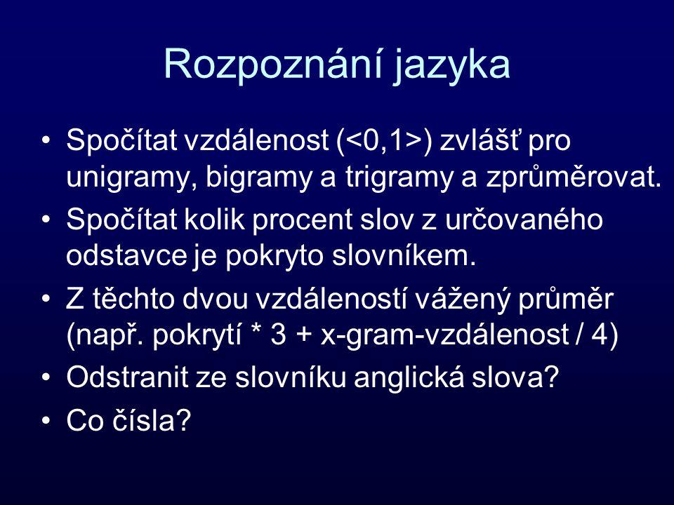 Rozpoznání jazyka Spočítat vzdálenost ( ) zvlášť pro unigramy, bigramy a trigramy a zprůměrovat.