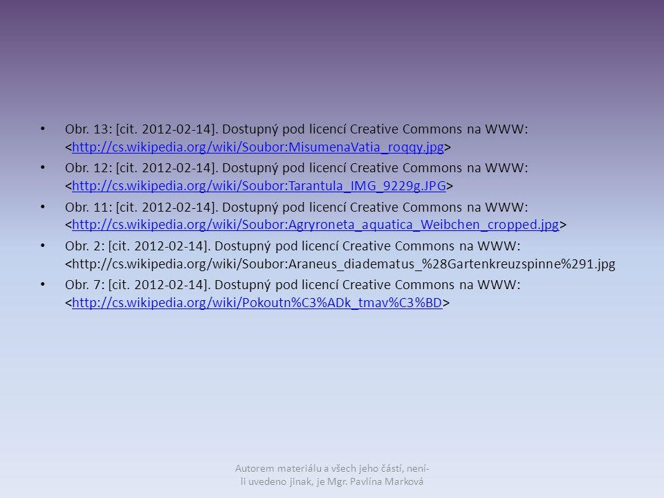 Obr. 13: [cit. 2012-02-14]. Dostupný pod licencí Creative Commons na WWW: http://cs.wikipedia.org/wiki/Soubor:MisumenaVatia_roqqy.jpg Obr. 12: [cit. 2