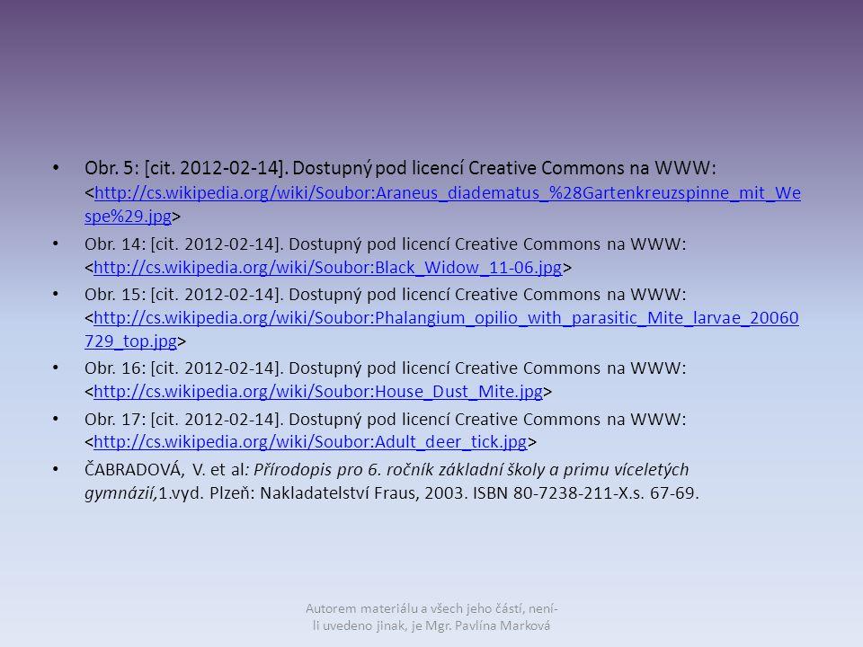 Obr. 5: [cit. 2012-02-14]. Dostupný pod licencí Creative Commons na WWW: http://cs.wikipedia.org/wiki/Soubor:Araneus_diadematus_%28Gartenkreuzspinne_m