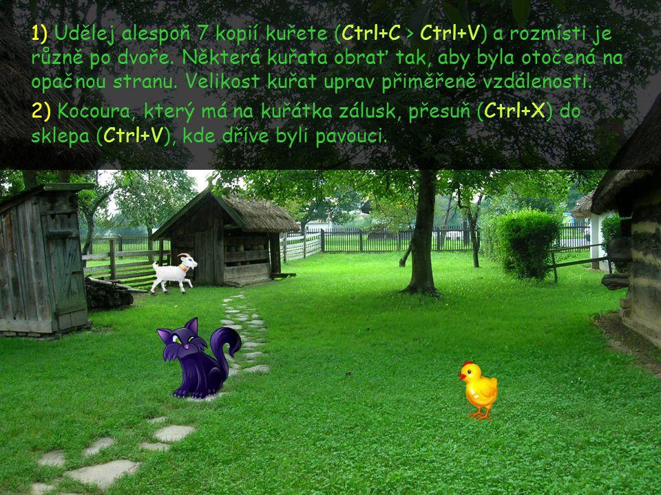 1) Udělej alespoň 7 kopií kuřete (Ctrl+C > Ctrl+V) a rozmísti je různě po dvoře. Některá kuřata obrať tak, aby byla otočená na opačnou stranu. Velikos