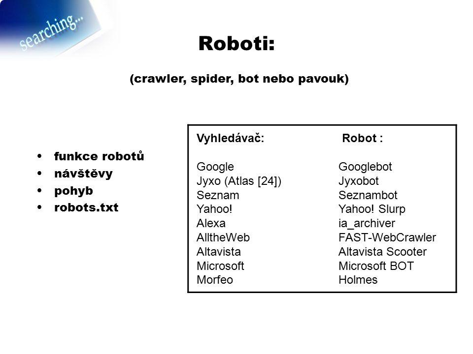Roboti: funkce robotů návštěvy pohyb robots.txt (crawler, spider, bot nebo pavouk) Vyhledávač: Robot : Google Googlebot Jyxo (Atlas [24])Jyxobot Sezna