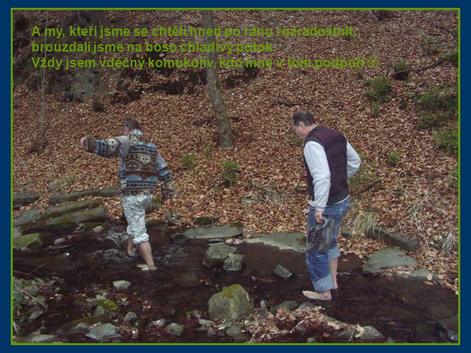 A my, kteří jsme se chtěli hned po ránu rozradostnit, brouzdali jsme na boso chladivý potok. Vždy jsem vděčný komukoliv, kdo mne v tom podpoří